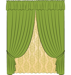 Vintage curtains vector image