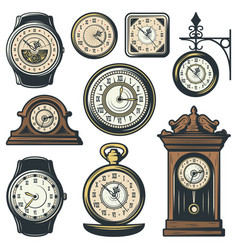 colored classic watches collection vector image