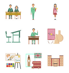 Assembly flat icons education school lessons vector