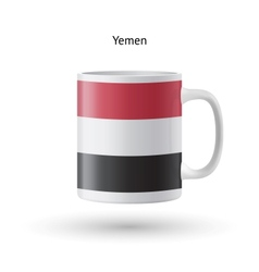 Yemen flag souvenir mug on white background vector