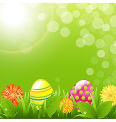 Green border with grass and color eggs vector