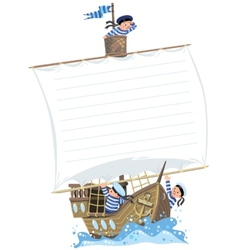 Banner with ship and happy sailors vector