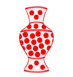 Vase with red dots part of porcelain vector