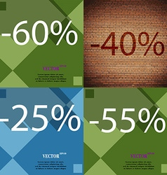 40 25 55 icon set of percent discount on abstract vector