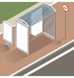 Isometric bus stop mockup vector