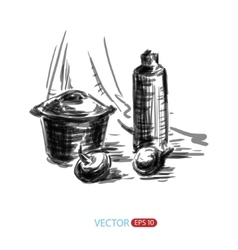 Still life sketch freehand vector image