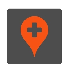 Hospital map pointer flat button vector