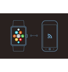 Smart watch and phone concept design with app icon vector image