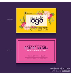 Cute floral pattern business card name card vector