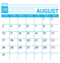 August 2015 calendar page template vector
