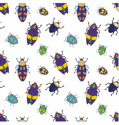 Beetles colorful seamless pattern vector