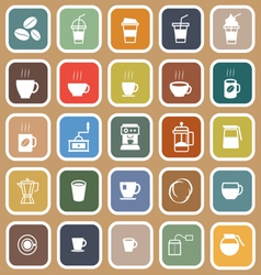 Coffee flat icons on brown background vector