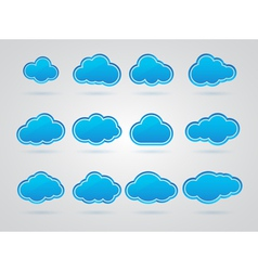 Collection of Blue clouds vector image vector image