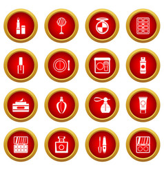 Cosmetics icon red circle set vector