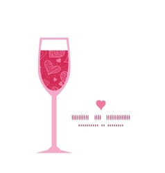 Doodle hearts wine glass silhouette pattern frame vector