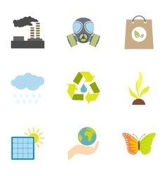 Environment icons set flat style vector