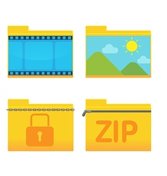 Folder icon design style set vector