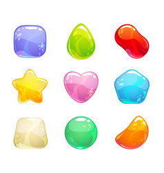 Funny cartoon colorful jelly candies set vector