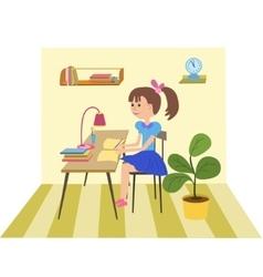 Girl doing school work vector