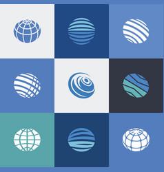 Globe icons blue vector