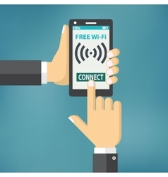 Hand holding smartphone with wifi vector image vector image