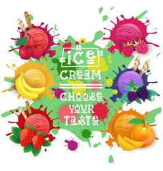 ice cream balls set fruit desserts collection vector image