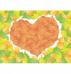 leaf heart vector image vector image