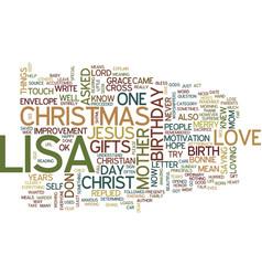 Lisa s christmas text background word cloud vector