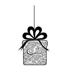 Monochrome silhouette of giftbox with decorative vector