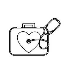 monochrome silhouette with first aid kit with vector image