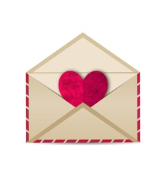 Open vintage envelope with paper grunge heart - vector