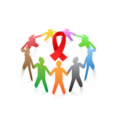 people around the red ribbon aids symbol vector image vector image