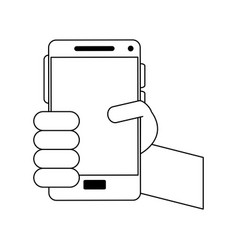Person holding smartphone icon image vector