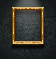 Picture frame on floral texture wall vector