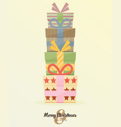 Retro decorative christmas presents christmas card vector