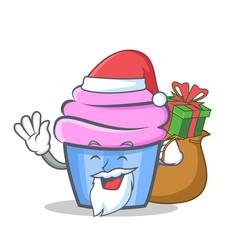 Santa cupcake character cartoon style gift vector