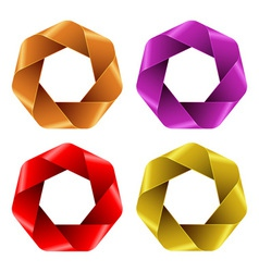 Set of Colorful Abstract Polygon icons vector image