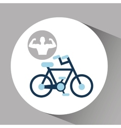 Silhouette man bodybuilder bicycle vector