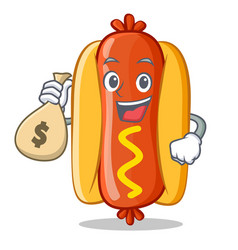 with money bag hot dog cartoon character vector image