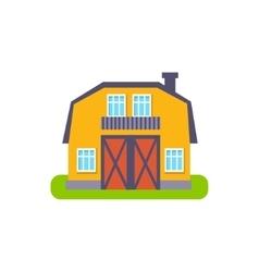 Yellow barn suburban house exterior design vector