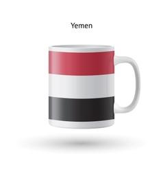 Yemen flag souvenir mug on white background vector