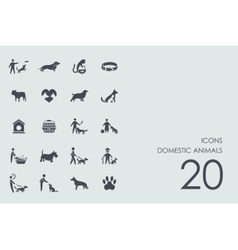 Set of domestic animals icons vector