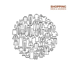 Fashion and shopping concept with clothes thin vector