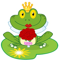 Frog bride on a lilypad vector