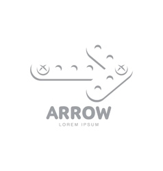Logo template with arrow made of metal bars fixed vector