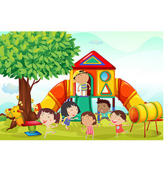 Many children playing on the playground vector image