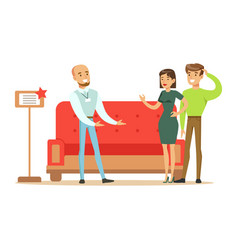 Store seller selling red sofa to couple smiling vector