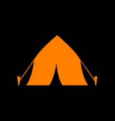 tourist tent sign orange icon on black background vector image