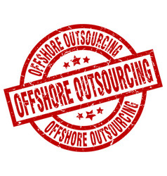 Offshore outsourcing round red grunge stamp vector