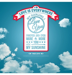 Love you poster in retro style on a summer sky vector